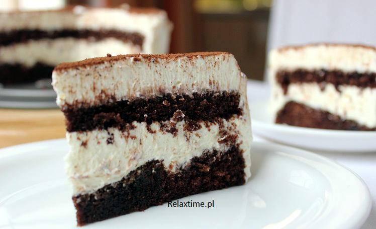 Kawowiec - biszkopt kakaowy i masa śmietanowo twarogowa