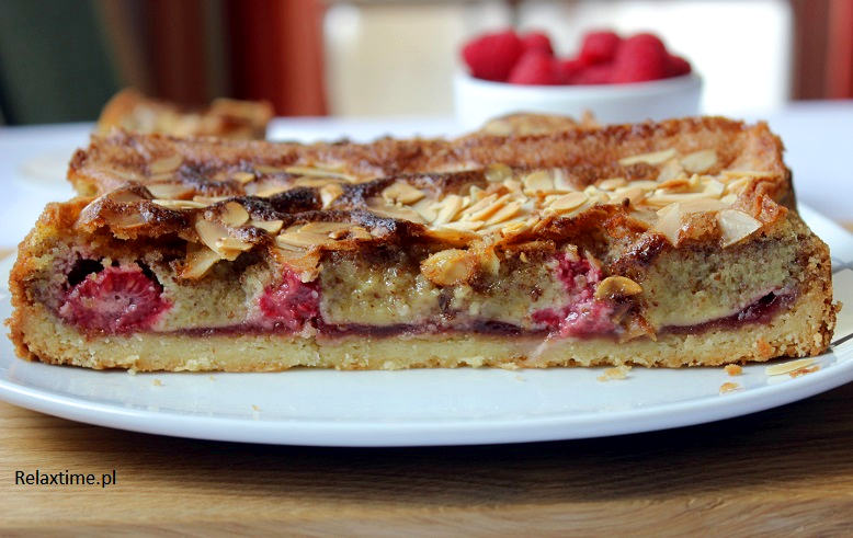 Tarta Bakewell z malinami