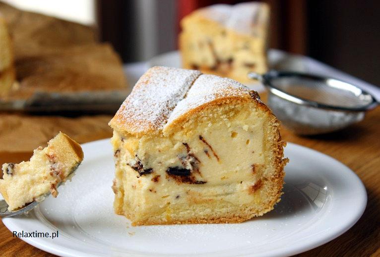 Tarta cytrynowa z serem i kawałkami czekolady