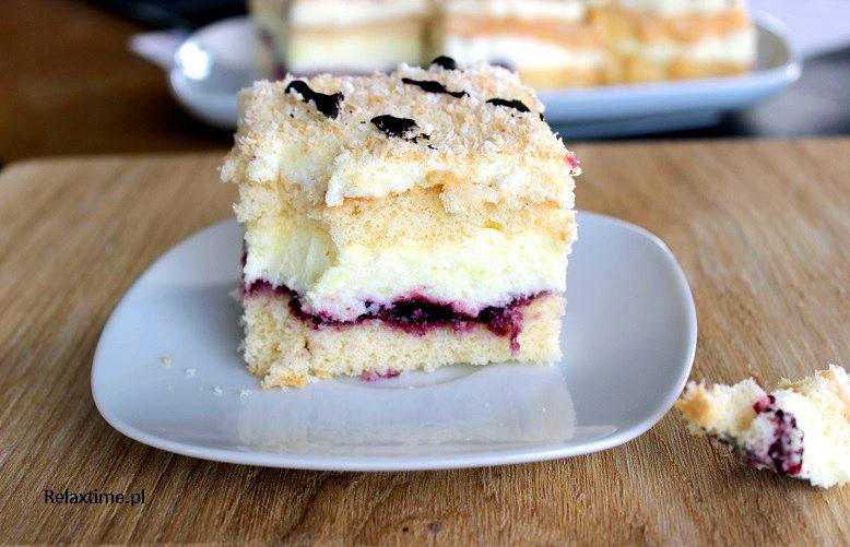 Ciasto prawie jak tort o wyjątkowym smaku kokosowo - porzeczkowym