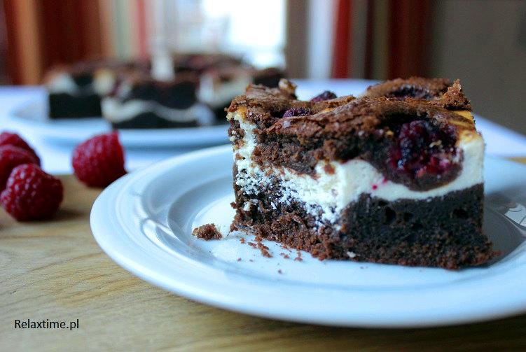 Sernik, brownie i maliny = ciasto idealne