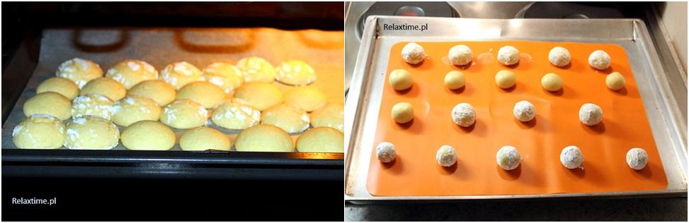 Ciasteczka przed i w trakcie pieczenia